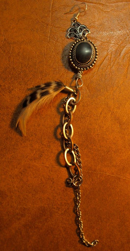 Chain & Feather Brooch Earring