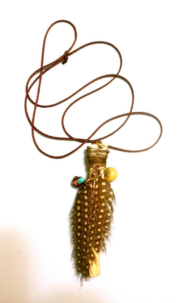 African Bird Feather, Palo Santos Necklace